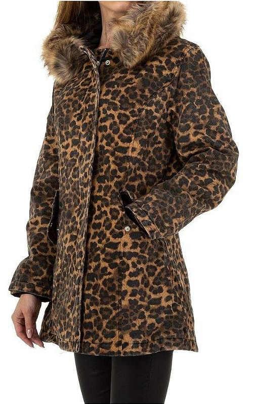 Zimní bunda s motivem leopardí kůže