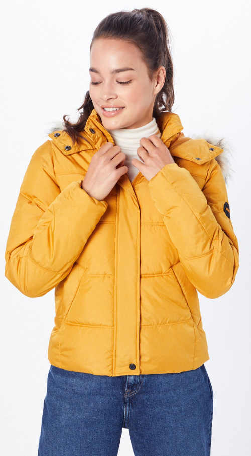 Žlutá dámská zimní bunda do pasu