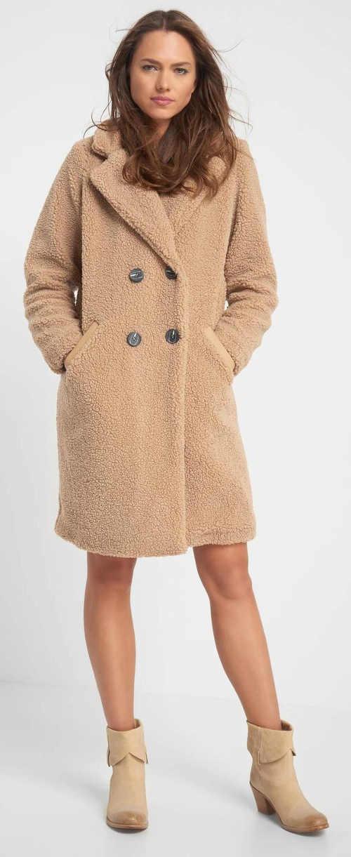 Béžový plyšový dámský zimní kabát Orsay