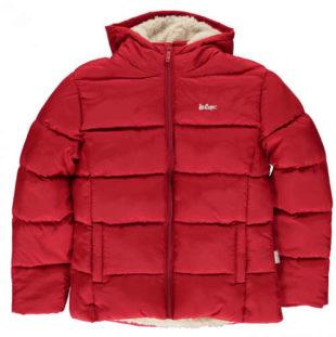 Červená dívčí zimní bunda Lee Cooper