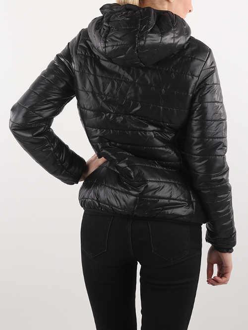 Dámská zimní bunda s kapucí a délkou do pasu