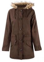Hnědý dámský kabát s kožíškem