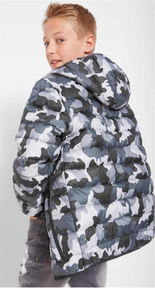 Klučičí zimní bunda s maskáčovým vzorem