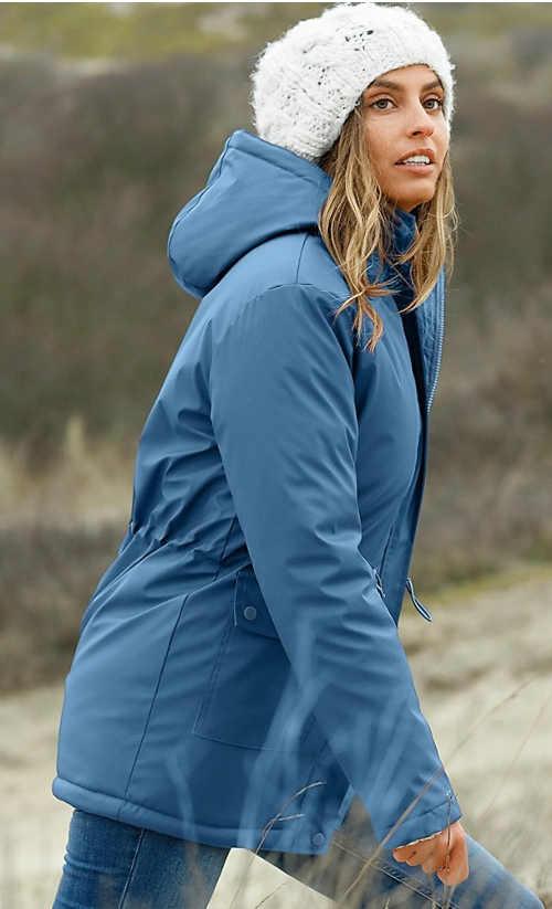 Modrošedý funkční dámský kabát s kapucí