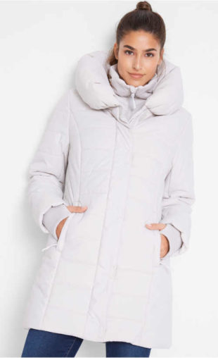 Outdoorový prošívaný zimní kabát s velkým límcem