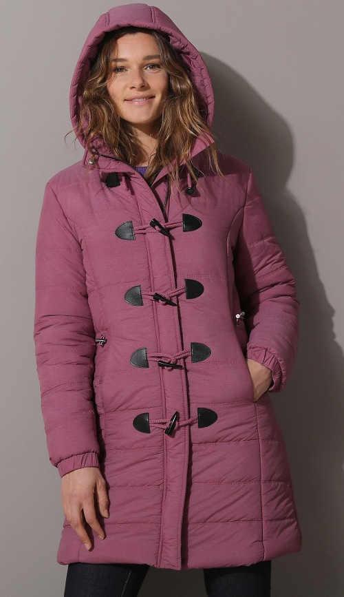 Polodlouhá zimní švestková bunda s knoflíky a očky