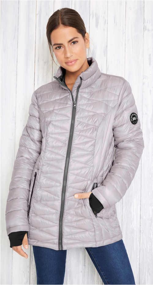 Stříbrná prošívaná funkční zimní bunda