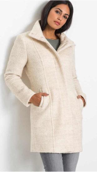 Vlněný dámský buklé kabát se stojáčkem