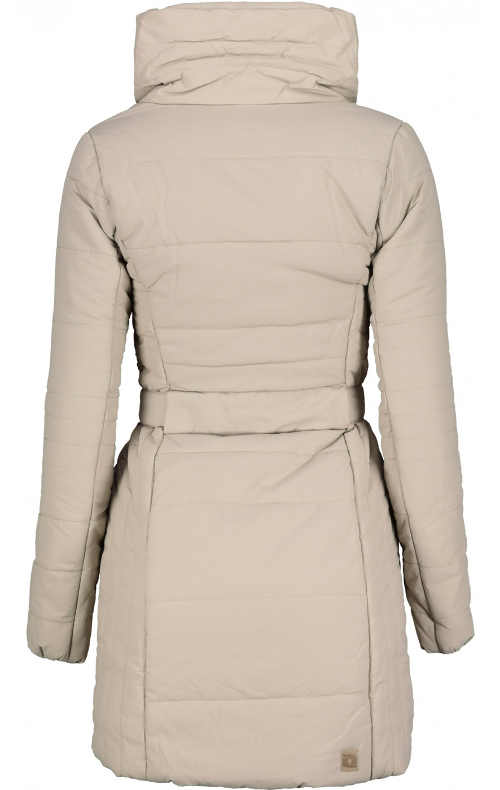 Vypasovaný teplý dámský zimní kabát