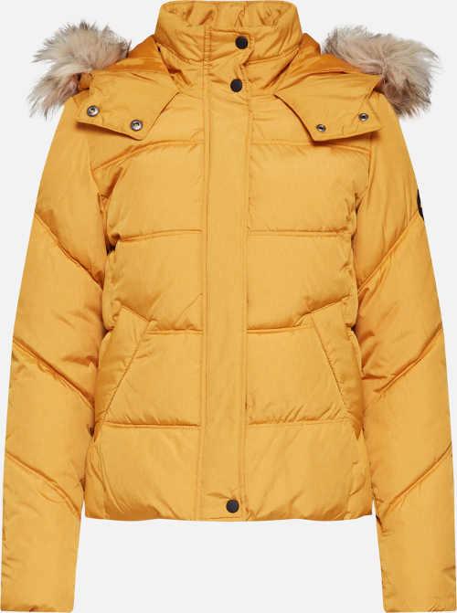 Žlutá dámská zimní prošívaná bunda s kožíškem na kapuci