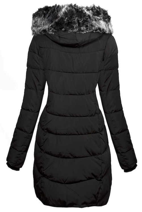 Černá prodloužená dámská zimní bunda s kožíškem