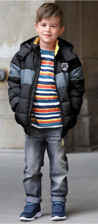 Černošedá prošívaná klučicí zimní bunda