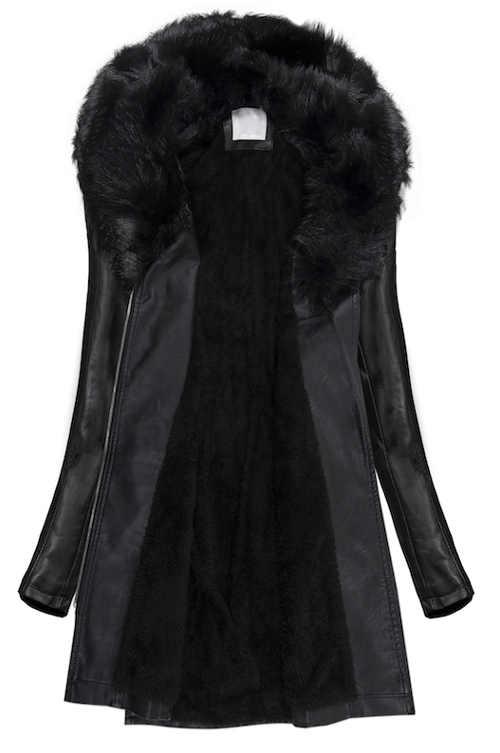 Dámský černý zimní kabát z umělé kůže