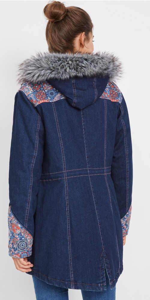 Dlouhá riflová dámská bunda na zimu