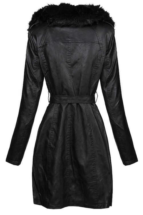 Dlouhý černý dámský kožený kabát