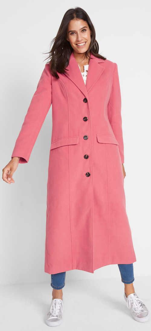 Dlouhý růžový dámský zimní kabát