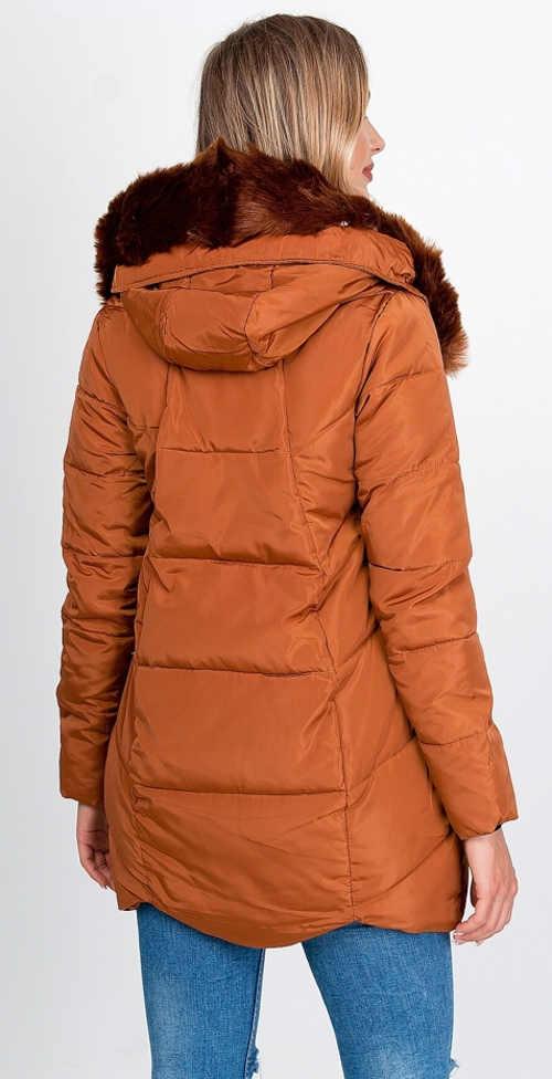 Hnědá prošívaná dámská zimní bunda