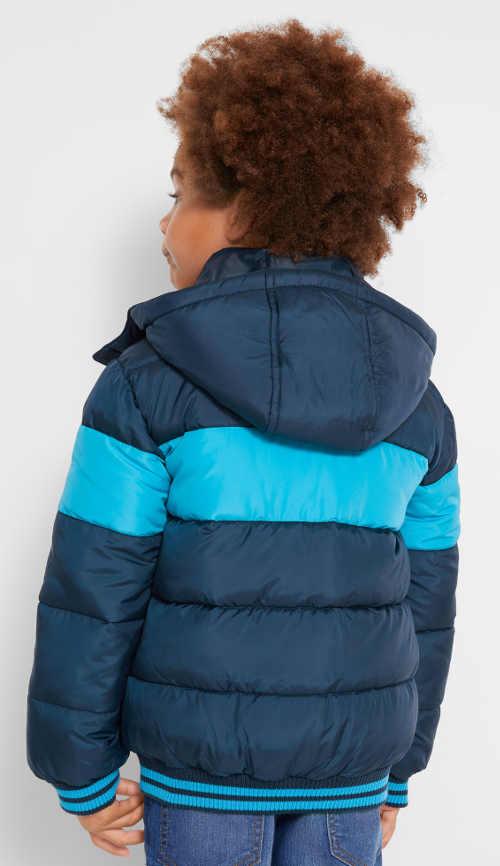 Modrá pruhovaná dětská zimní bunda