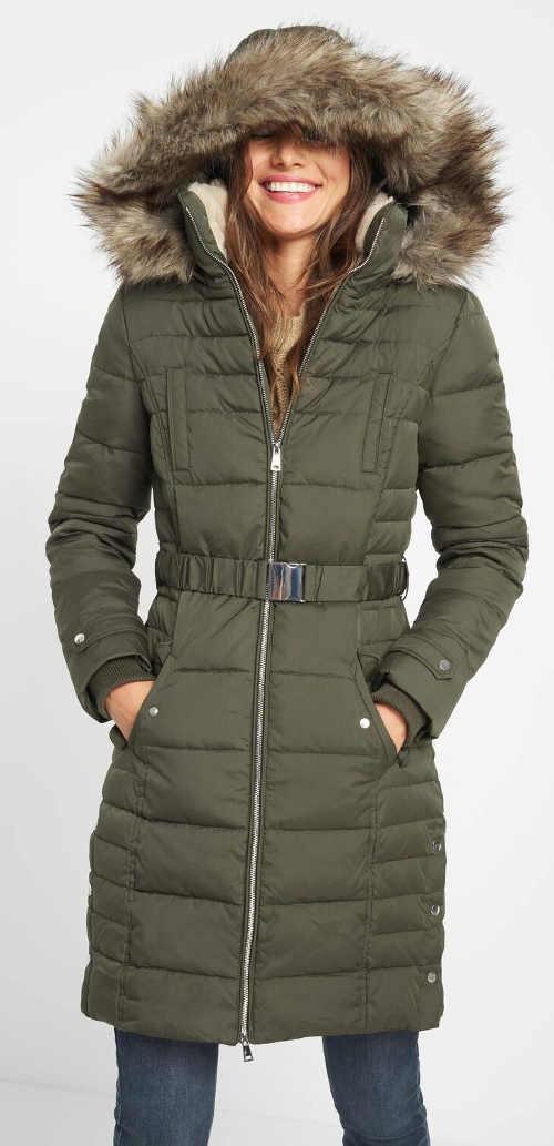 Péřová dámská zimní bunda šedé barvy