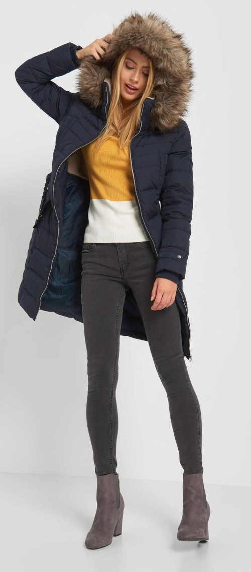 Prodloužená modrá dámská péřová zimní bunda
