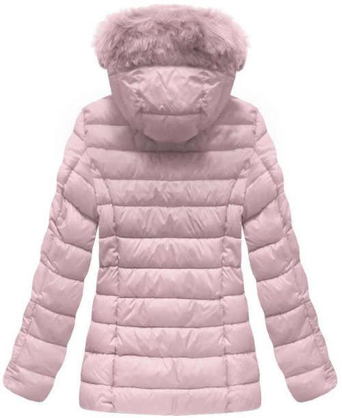 Růžová prošívaná péřová dámská zimní bunda