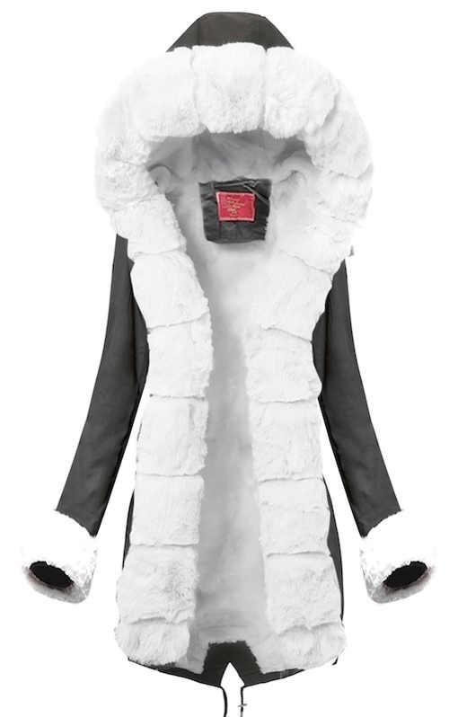 Šedá prodloužená dámská zimní bunda s bílým hřejivým kožíškem