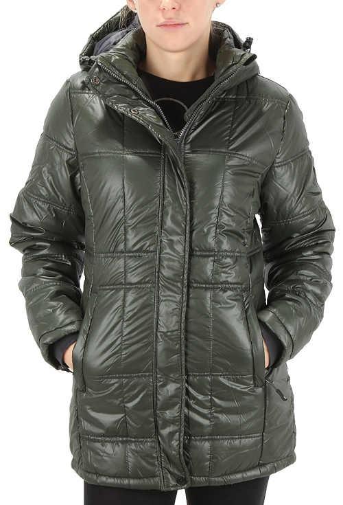 Tmavě zelená dámská outdoorová zimní bunda