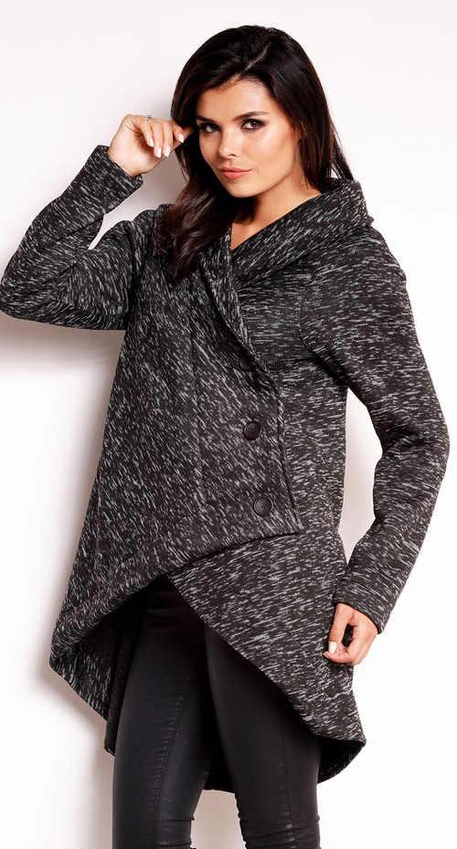 Asymetrický dámský zimní kabátek s delším zadním dílem