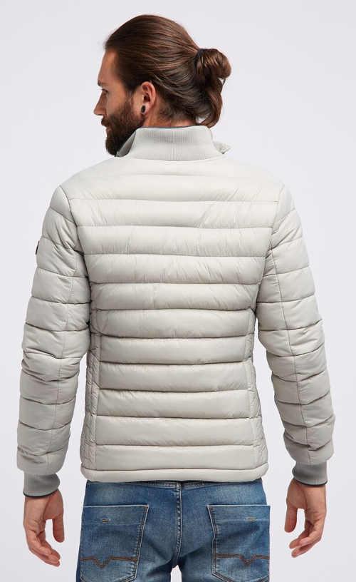 Bílo-šedá zimní prošívaná bunda