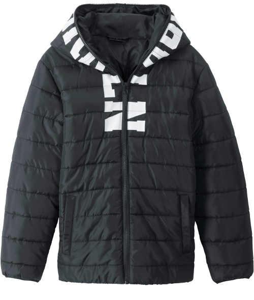 Černá klučičí zimní bunda s potiskem
