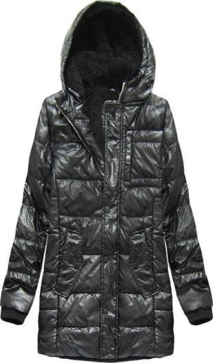 Černá lesklá pánská zimní bunda s kožíškem