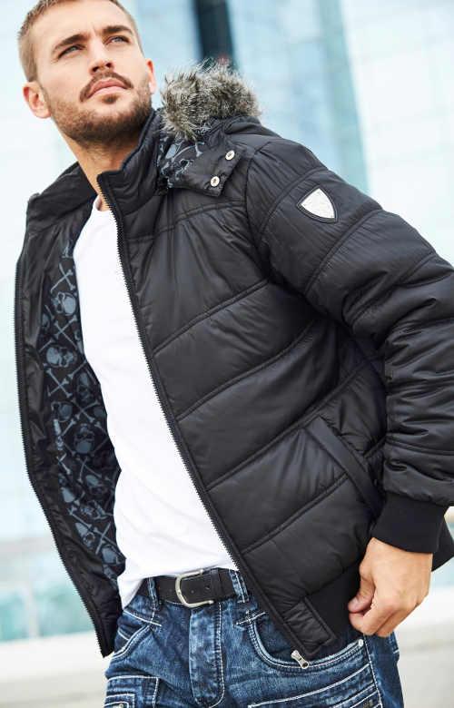 Černá pánská zimní bunda sportovního střihu