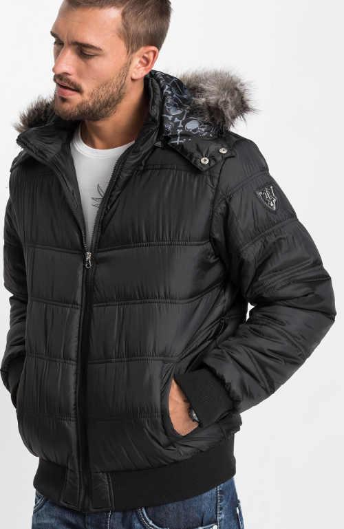 Černá pánská zimní prošívaná bunda s odepínací kapucí