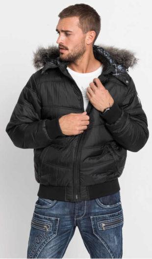 Černý pánský zimní bomber s kapucí