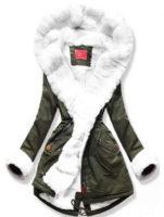 Dámská khaki bunda s bílým hřejivým kožíškem