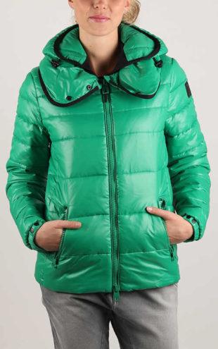 Dámská zelená prošívaná bunda Replay s velkým límcem