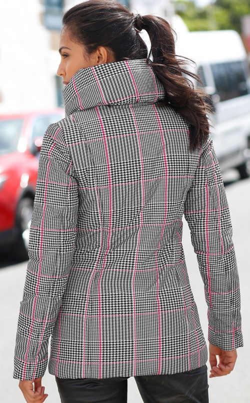 Dámská zimní bunda se skrytou kapucí v stojáčku