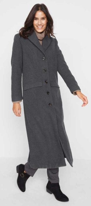 Dámský zimní kabát z umělé vlny v maxi délce
