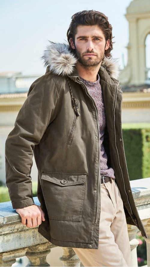 Delší pánská zimní bunda s kapucí a kožíškem