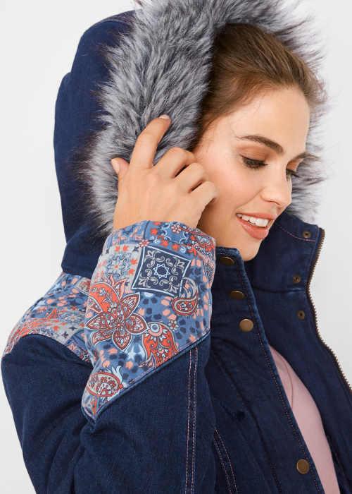 Denimová dámská zimní bunda s kapucí