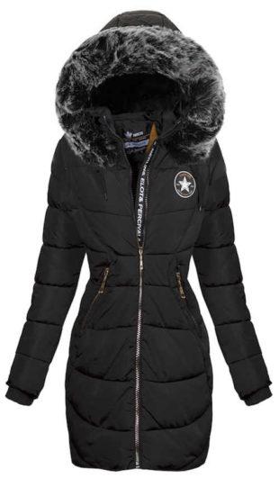 Dlouhá černá dámská zimní bunda Teisha