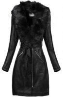 Dlouhý černý koženkový kabát s kožešinovým límcem