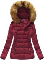 Fialová teplá krátká zimní bunda s kapucí