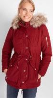 Jednobarevná dámská zimní parka s umělým kožíškem