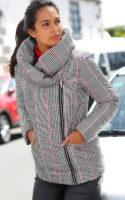 Kostkovaná dámská zimní bunda s velkým límcem