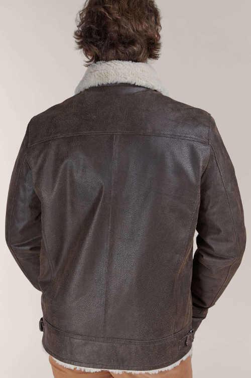 Kožená pánská bunda s kožíškovým límcem