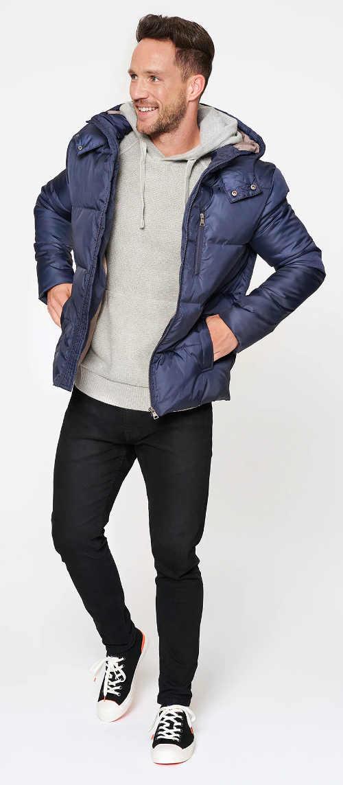 Modrá pánská zimní bunda sportovního střihu