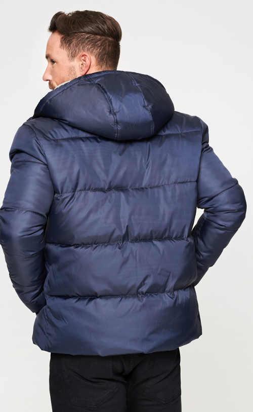 Modrá prošívaná pánská bunda s velkou kapucí