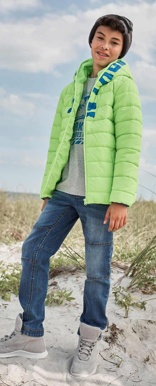 Neonově zelená chlapecká zimní bunda