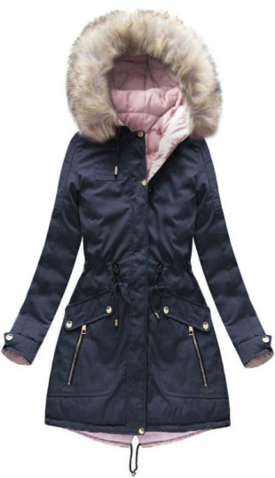 Oboustranná růžová a modrá delší dámská zimní bunda